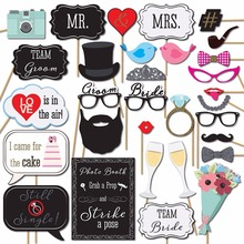 Fun Wedding Photo Booth Props DIY Kits Photobooth Wedding Party Bridal Shower Decoration Supplies Game Favor Gifts(China)
