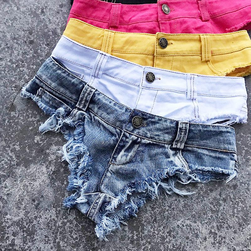 New 17 Summer Women Sexy Jeans Shorts Feminino Candy Color Fashion Hot Denim Shorts Beach Ladies Party Low Waist Mini Shorts 26