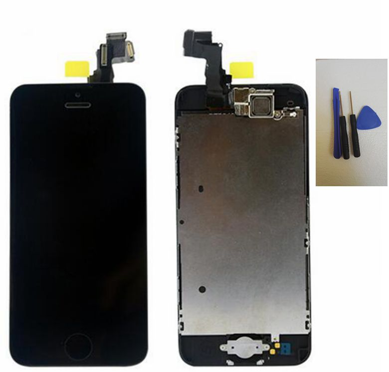 Black Touch digitizer glass +lcd display+front camera flex cable+home button replacement screen for iphone 5c assembly<br><br>Aliexpress