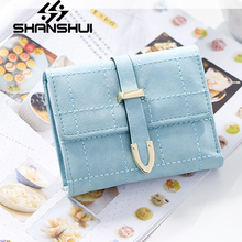SHANSHUI 2017 New Creative Three Fold Short Paragraph Solid Color Car Suture Pumping Multi-Card Fashion Simple Women Wallet(China)