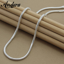 Hot Sale Men Chain Necklaces Fashion 3MM 50cm Silver 925 Jewelry Snake Chain Necklaces Christmas Gift N159(China)