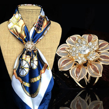 2016 New arrival Fashion design flower crystal classic brief version High quality silk scarf buckle woman accessories brooch
