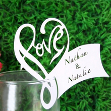 50Pcs/Lot Love Heart Place Escort Table Mark Wine Glass Name Place Card Festival Wedding Party Bar Decoration DIY Cup Decor