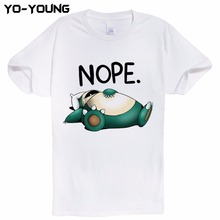 Pokemon Funny Snorlax Nope Men T Shirts Digital Printing 100% Combed Cotton Funny Top Tees Homme Customized