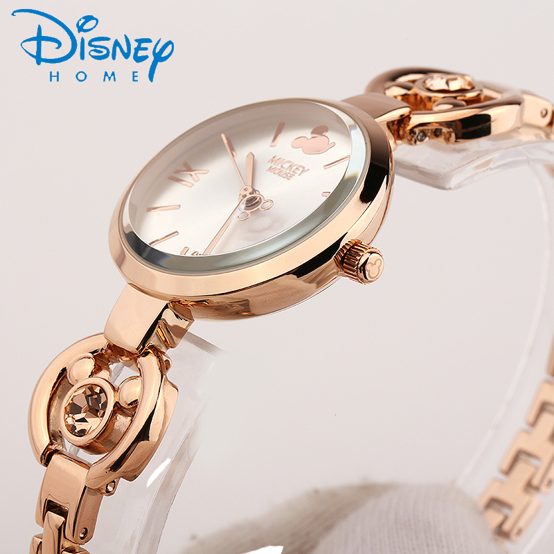 Disney Women Watch Stainless Steel Bracelet Mickey Mouse Ladies Watch Rose Gold Quartz Wristwatch relogio feminino hodinky women<br>
