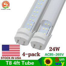 4-Pack 4 ft Led Tube Lights G13 Double Row Daylight 5000K 24W 4ft Led Tube Light Clear/Frosted Cover AC85-265V US SHIP(China)