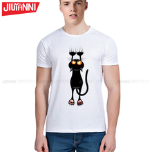 New Men 's clothing lovely black cat cartoon t shirts cool elegant summer shirts Brand good quality casual top tees