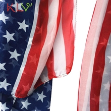 Scarves & Wraps Women Fashion Soft Silk Chiffon American Flag Scarf Scarves Levert Dropship303Ap18