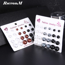 RscvonM 12 pairs/set Simulated Pearl Earrings For Women Jewelry Bijoux Brincos Pendientes Mujer Fashion Stud Earrings(China)