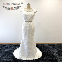 Rose Moda Modest Short Sleeves French Lace Mermaid Wedding Dress with Removable Crystal Sash Boho Wedding Dresses 2017