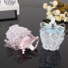 Plastic Blue/Pink Lace Feeder Feeding Bottle Candy Chocolate Box Boxes For Wedding Birthday Baby Shower Favors Gifts