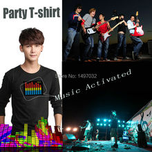 Fast shipping Unisex EL T-shirt Sound Activated Flashing cosplay Light Up Down Music Party Equalizer LED TShirt it is fantastic(China)