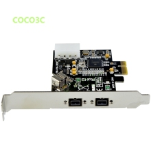 PCI-e to 2 + 1 Ports 1394B card External Firewire 800 400 IEEE 1394 PCI express card For HD DV camcorder digital camera