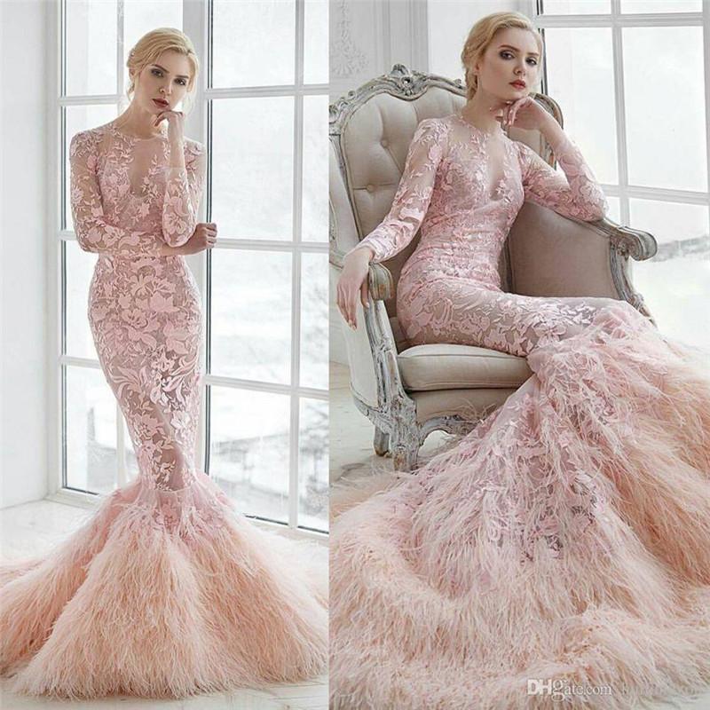 charming-pink-2017-mermaid-wedding-dresses