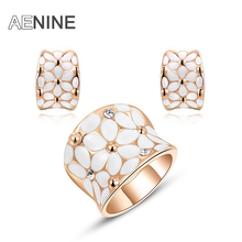 AENINE Rose Gold Color Flower Jewelry For Women Hochzeit Schmuck Rings+Earrings Enamel Jewelry Sets for Bridal L2070127650b(China)