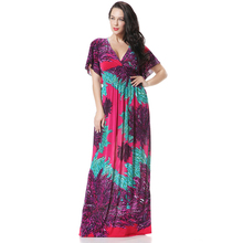 Ethnic Plus Size Maxi Dress From India Style Bohemian Flare Sleeve Flowers Print Beach Dress Robe De Plage Purple Orange 6xl(China)