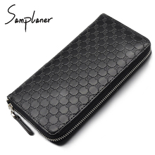 Samplaner Genuine Leather Long Men's Wallets Clutch Big Zipper Male Wallet Men Coin Purse Card Holder Cattle Two Layers Of Skin(China)