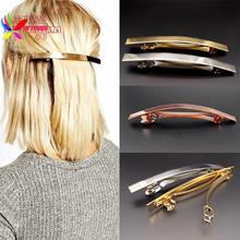 2016 Hot Fashion Punk Gold/Silver/Rose Gold Color Plain Stick Big Hairgrip Hair Clips For Women T-show jewelry for women