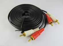 10pcs 5m 15ft Twin Phono 2 RCA Cable Audio Lead Gold Two Male TV Projector 2 RCA Cord