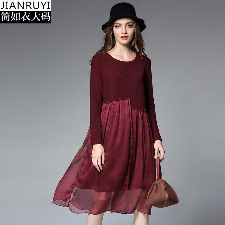 3 Color Plue Size Women Dress Autumn O neck Long Sleeve Chiffon Patchwork Knitted Dress 4XL Big Size Loose Dress Black Navy WineÎäåæäà è àêñåññóàðû<br><br>