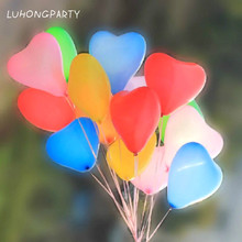 100 Pcs Length 7 inch Love Heart Balloons 6 Colors ballon For Wedding Birthday Party supplies Inflatable air globos LUHONGPARTY