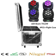 4pcs with flight case 7x12w LED Beam Moving Head Light/RGBW 4in1 High Power led Beam Light/party disco dj lighting/LED wash beam
