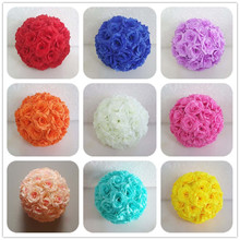 EMS Shipping 12pcs 20cm Silk Rose Kissing Ball Artificial Fabric Pomander Flower Ball For Party Wedding Centerpiece Decoration