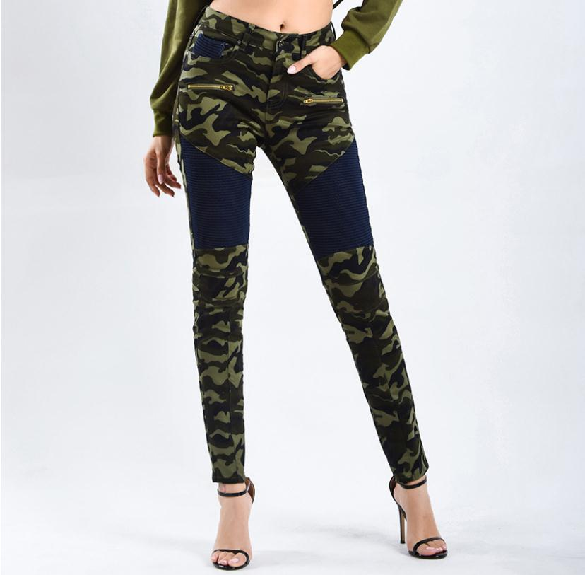 2019 Womens Fashion Motorcycle Pants Spring Autumn Stretchy Slim Camouflage Printed Trousers Denim Cargo Pencil Pant S/3Xl K1028