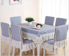 Korean style plaid lace tablecloth set suit 130*180cm table cloth matching chair cover 1 set price 2colors free ship