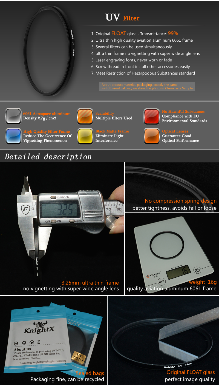 KnightX 52mm 58MM 67MM Graduated Color ND CPL UV Lens Filter Kit for Nikon canon D5100 D3300 D5300 D50 D3100 D30 SLR Camera 1