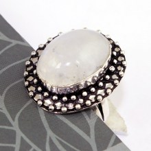 Rainbow Moonstone Ring   Silver Overlay over Copper , Size: 8,  R0369