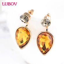 New Brand Detachable Deep Blue Crystal Water stud Earrings 2016 Fashion Small Cute Jewelry Summer Party Earrings for Women gift(China)