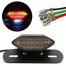 Motorcycle Tail Lights Integrated LED Brake Lamp and Turn Signals Lights Motorbike Rear Turn Indicators White+Red Scooter Refit