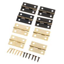 10Pcs 24*16mm Furniture Hinges Cabinet Drawer Door Butt Hinge Antique Bronze/Gold Decorative Hinges For Jewelry Box With Screws