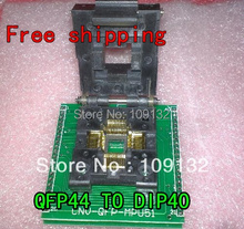 Free shipping CHIP PROGRAMMER SOCKET TQFP44 QFP44/ PQFP44 TO DIP40 adapter socket support MCU-51 chip(China)
