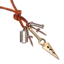 QN To Something Series Trendsetter Accessories Imitate Bronze Hollow Out Sword Cowhide Rope Man Necklace Jewelry Ornaments(China)