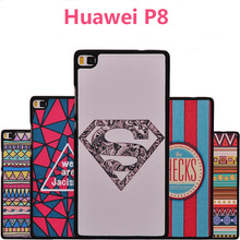 huawei ascend p8 cover Cartoon Hard Shell Plastic Hard Retro pattern black border back cover huawei p8 case 5.2 inch