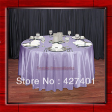 "Hot Sale Lilac Shaped Poly Satin Table Cloth Wedding Meeting Party Round Tablecloths/Table Linen (128"" Round )"