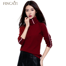 Sweaters Autumn Winter High Quality Turtleneck Women's Strip Design Knitwear Cashmere Woollen Sweater Pulls Femme Tops Jersey(China)