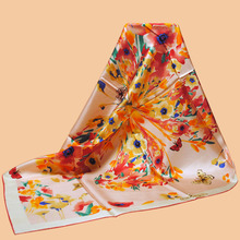 "Huajun || new color brand scarf ""butterfly flower"" 90 silk scarf 100% mulberry silk twill scarf printing shawl"