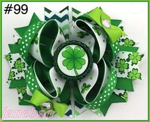 free shipping 145pcs St Patricks Day Bow Angel St. Patrick's Day Boutique Style Hair Bow shamrock ribbon bows(China)