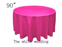 "10 piece poly 90"" Cheap Wedding Table Cloths  fuchsia color  Round Wedding Tablecloth Free Shipping"