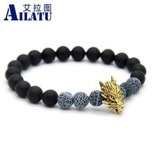 Ailatu New Men Jewelry 8 mm Matte Glass Beads with Weathering Onyx Stone Antique Gold-Color Plated Wolf Bracelet(China)