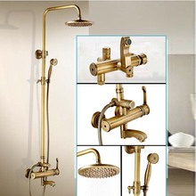 "Creative Design Bathroom Outdoor Bath and Shower Faucet Set Single Lever Brass Antique Rainfall 8"" Shower Mixers with Handshower(China)"