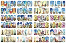 12 PACK/ LOT WATER DECAL NAIL ART NAIL STICKER SLIDER TATTOO FULL COVER EUROPE PARIS TOWER CHURCH A1213-1224(China)