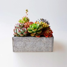 Caioffer European Wooden Carved Flower Pots Succulent Plants Box Potted Flower Arrangement Decotation For Balcony Home CJ018(China)