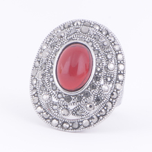 STOCK 2016 high quality Antique silver plated hollow red stone Ring for women free samples wholesale