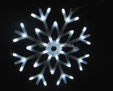 40led Snowflakes LED fairy String Light snow flake rope light motif Christmas Xmas tree Lights Bracket decoration 220V-WHITE(China)