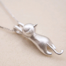 PATICO Pretty Cat Pendants 925 Sterling Silver Necklace For Women/Girls Party Accessory Cute Animal Design Lady's Party Jewelry