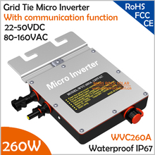 IP67 260W Grid Tie Micro Inverter with Communication Function, 22-50VDC 80-160VAC Pure Sine Wave with MPPT for 200-300V PV Panel(China)